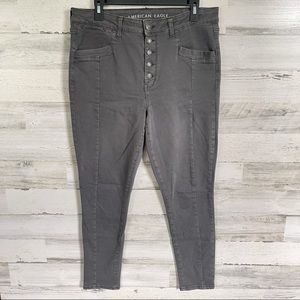AE High Rise Jeggings Grey Next Level Stretch - 16